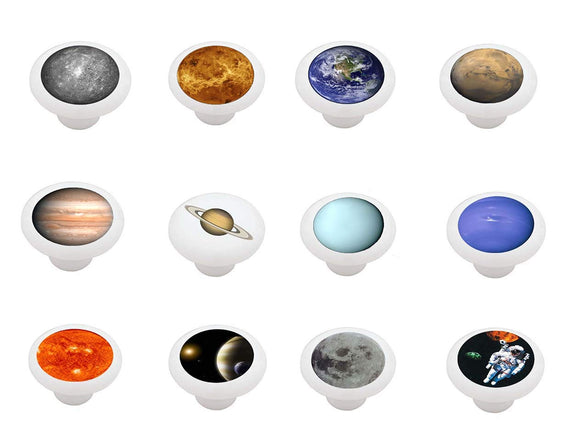 Set of 12 Space Themed Ceramic Drawer Knobs