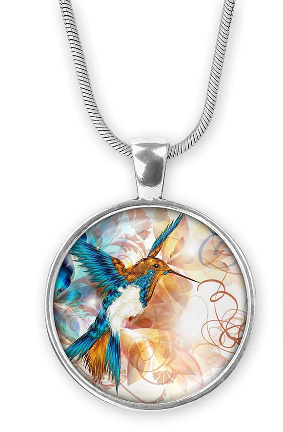 Gotham Decor Abstract Hummingbird Round Pendant on Chain