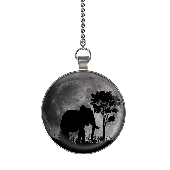 Elephant Jungle Moon Glow in the Dark Fan/Light Pull Pendant with Chain