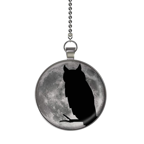 Owl Moon Glow in the Dark Fan/Light Pull Pendant with Chain
