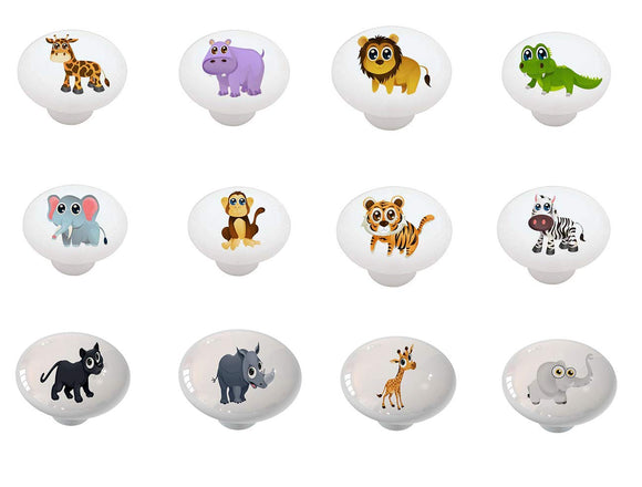 Set of 12 On Safari Animal Peepers Ceramic Drawer Knobs