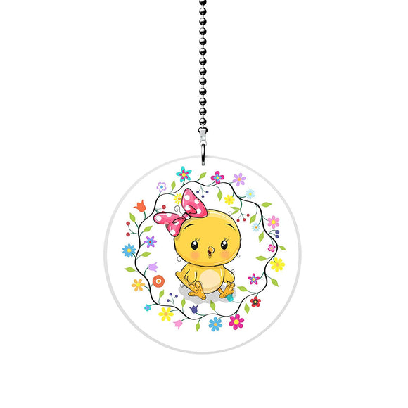 Baby Chick in Floral Wreath Fan/Light Pull
