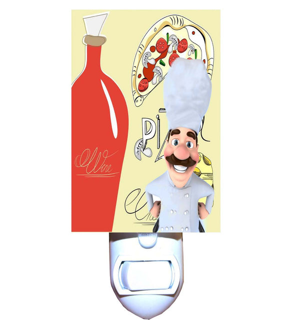 Pizza and Wine Chef Night Light