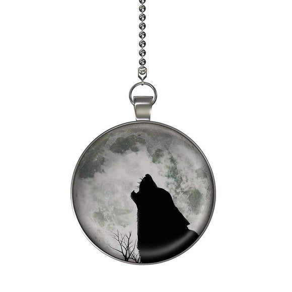 Wolf Moon Glow in the Dark Fan/Light Pull Pendant with Chain
