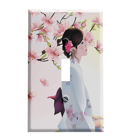 Oriental Woman in the Garden Switch Plate Cover