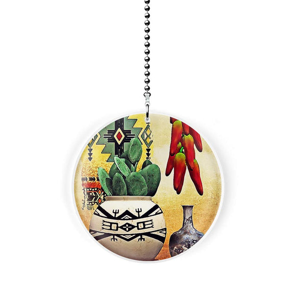 Southwest Cactus and Chili Peppers Fan Pull