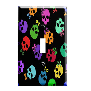 Rainbow Bow and Bowtie Skulls Switch Plate Cover- Skull Home Decor