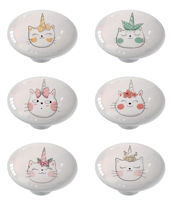 Set of 6 Caticorn Unicorn Magic Ceramic Drawer Knobs