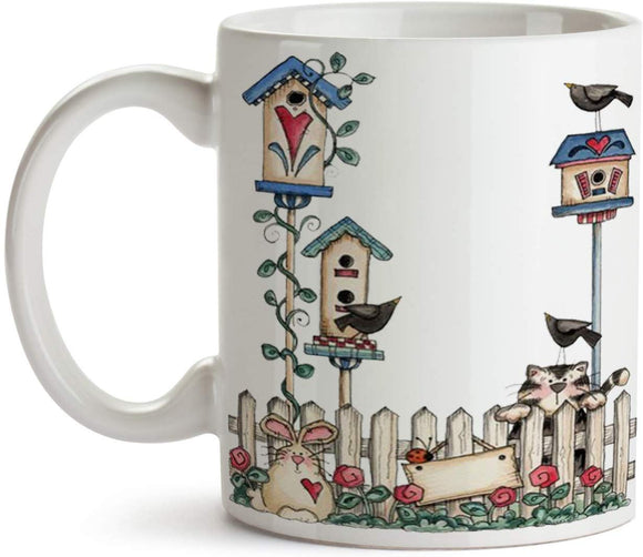 Primitive Scene with Birdhouses 11oz Coffee Mug - Tea Mug