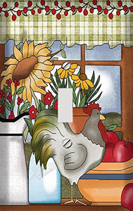Rooster and Sunflowers Country Window Switch Plate Cover