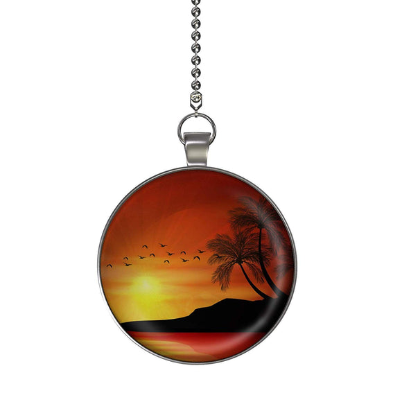 Sunset Palm Fan/Light Pull Pendant with Chain