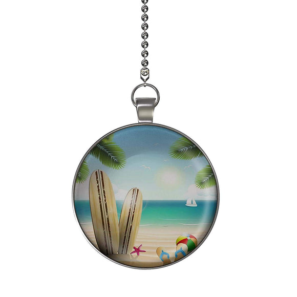 Summer Surfboard Beach Fan/Light Pull Pendant with Chain