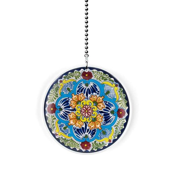Mexican Talavera Design Flower Fan Pull