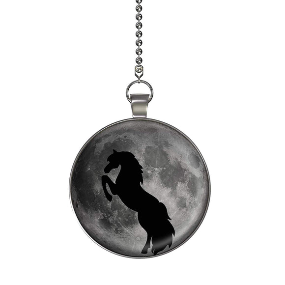 Horse Moon Glow in the Dark Fan/Light Pull Pendant with Chain