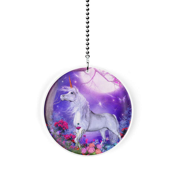 Moonlit Unicorn Garden Fan Pull