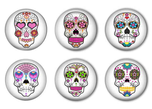 Tattooed Sugar Skulls Refrigerator Magnet Set