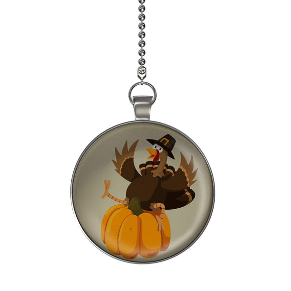 Thanksgiving Turkey on Pumpkin Fan/Light Pull Pendant with Chain