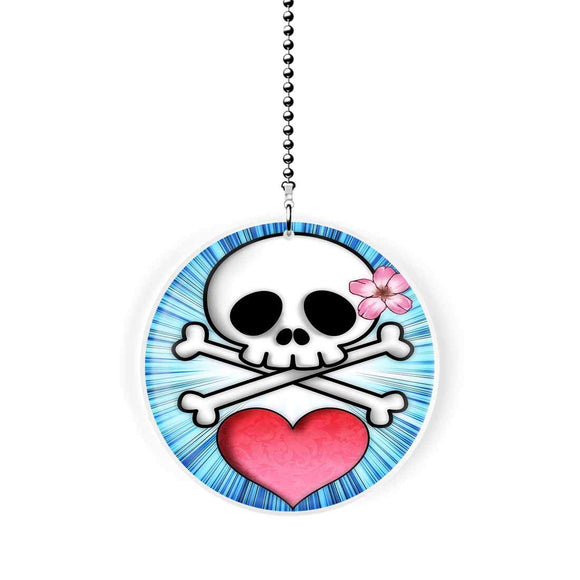 Cherry Blossom Skull Fan Pull