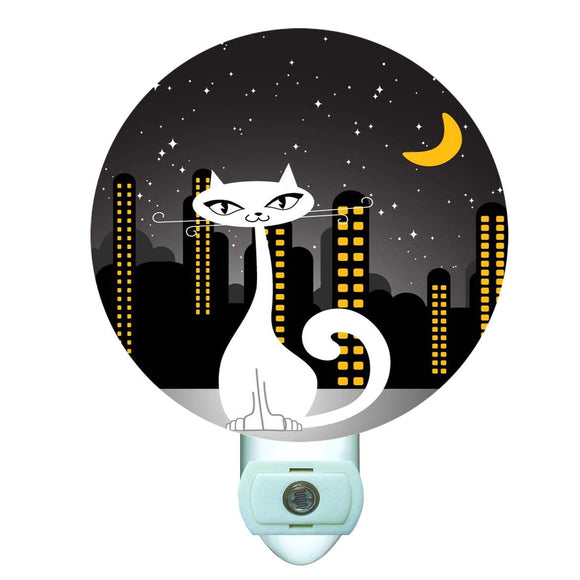 City Night Cats Decorative Round Night Light