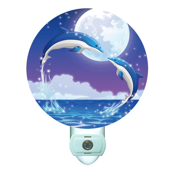 Dolphin Kiss Decorative Round Night Light