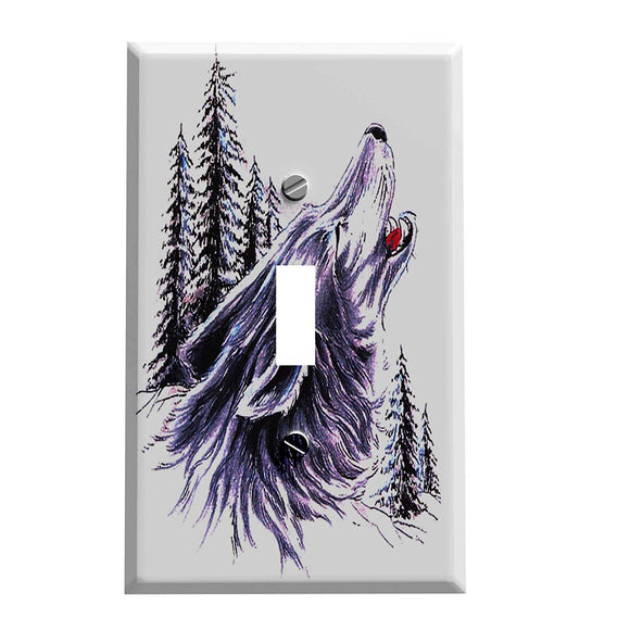Woodland Howling Wolf Switch Plate Cover