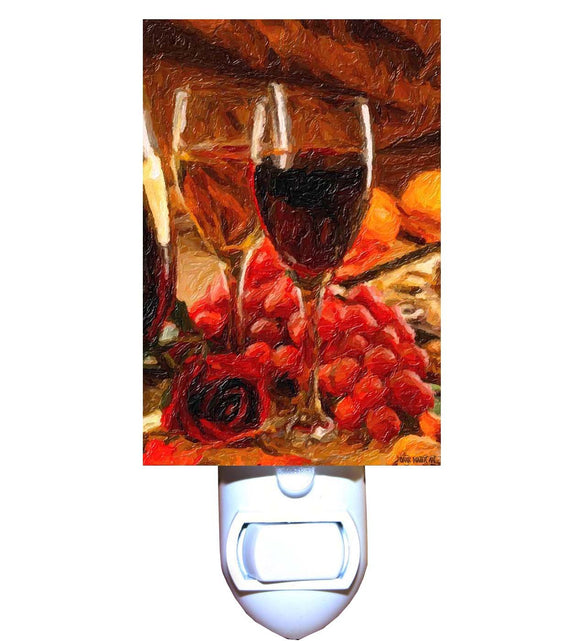 Red and White Wines with Grapes Night Light