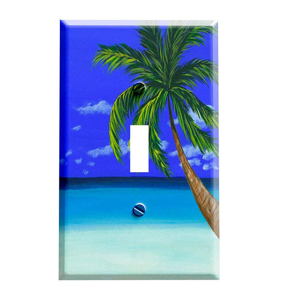 Palm Tree on the Beach Switch Plate Cover
