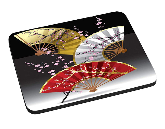 Asian Cherry Blossom Fans Mouse Pad