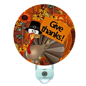 Give Thanks Turkey Thanksgiving Decorative Round Night Light