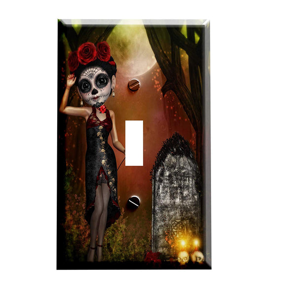 Day of The Dead Sugar Skull Moon Doll Switch Plate Cover