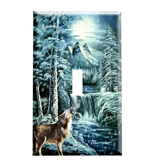 Waterfall Wolf Switch Plate Cover