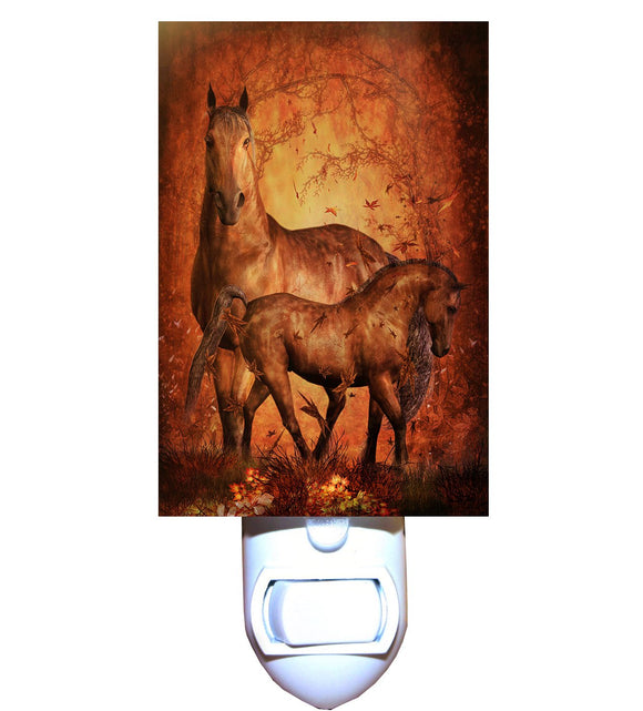 Autumn Horse and Foal Night Light
