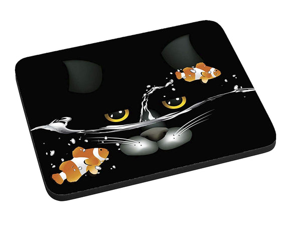 Cat and Clownfish Mouse Pad