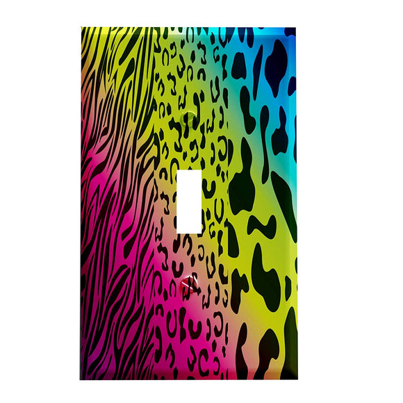 Rainbow Animal Print Switch Plate Cover