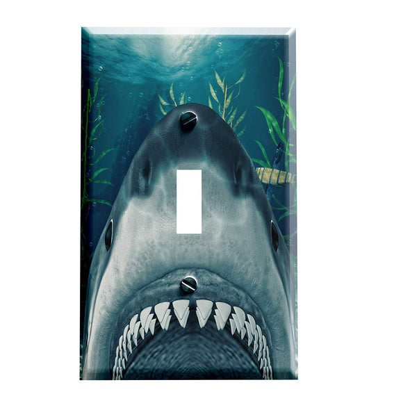 Underwater Great White Shark Switch Plate Cover