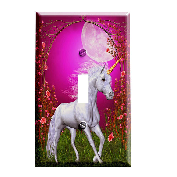 Unicorn Rose Moon Switch Plate Cover