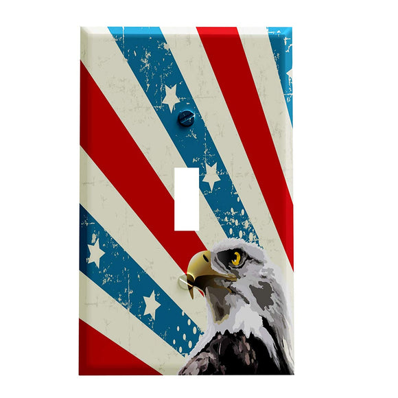 American Eagle Distressed Stripe Switch Plate Cover - Patriotic Home Decor