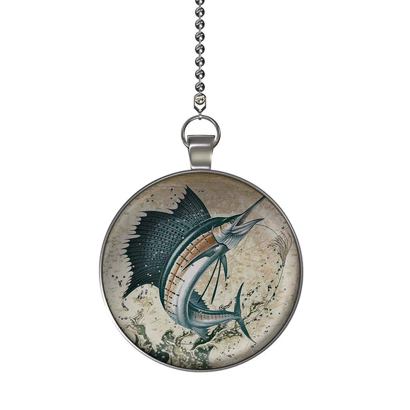 Sea Marlin Fan/Light Pull Pendant with Chain