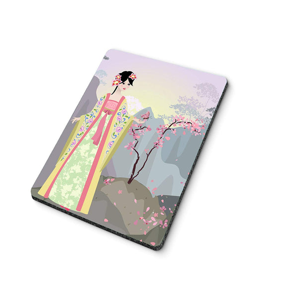 China Girl with Butterfly Mouse Pad