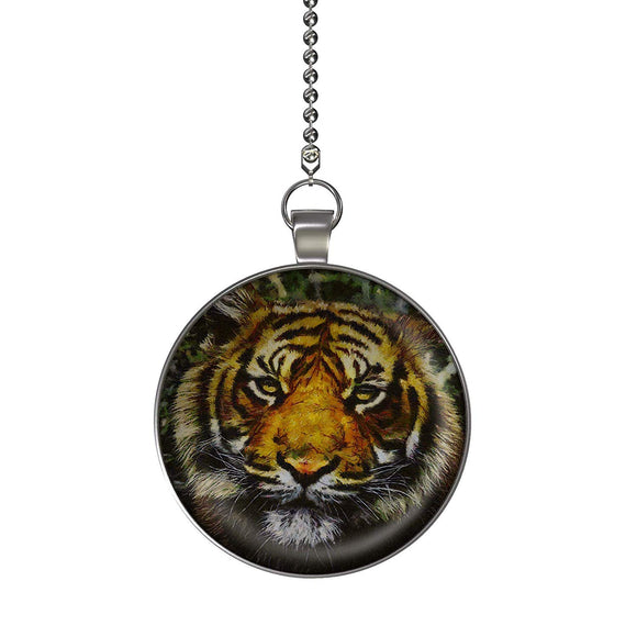 The Tiger Fan/Light Pull Pendant with Chain