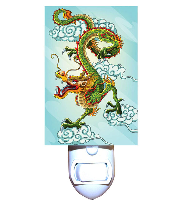 Chinese Dragon on Blue Night Light