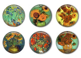Van Gogh Sunflowers and Florals Refrigerator Magnet Set
