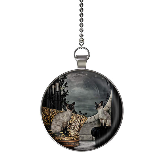 Siamese Cats Fan/Light Pull Pendant with Chain