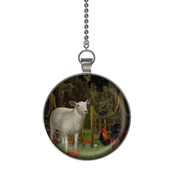 The Enchanted Farm Fan/Light Pull Pendant with Chain