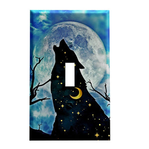 Starry Night Howling Wolf Switch Plate Cover