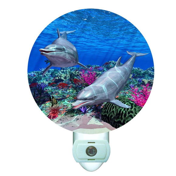 Gotham Decor Dolphin Reef Decorative Round Night Light