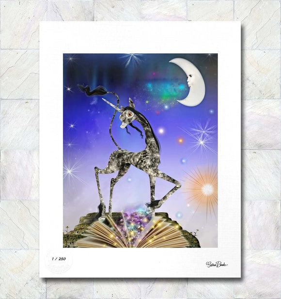 Magical Storybook Unicorn Limited Edition Fine Art Print By Gina Brake