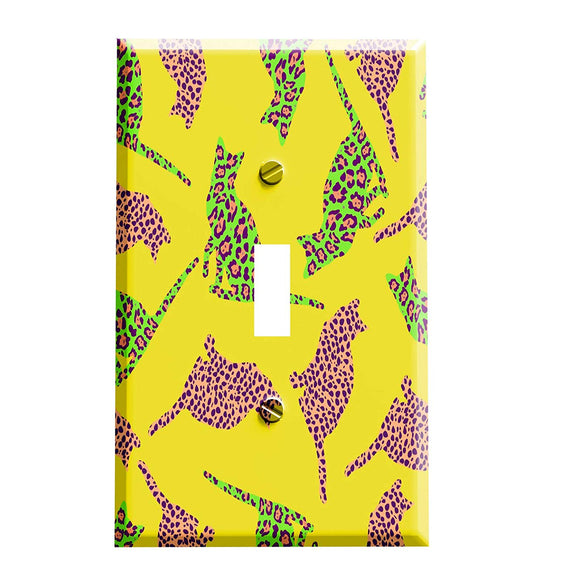 Funky Leopard Print Cats Switch Plate Cover