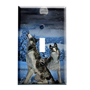 Wolf Pair Switch Plate Cover