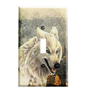 Autumn Snow Wolf Switch Plate Cover